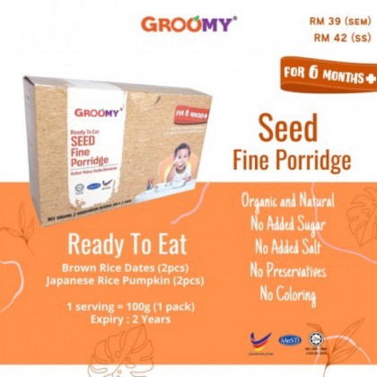 GROOMY: Ready To Eat Seed Fine Porridge 6M+ (2 Flavors in 1 Box)